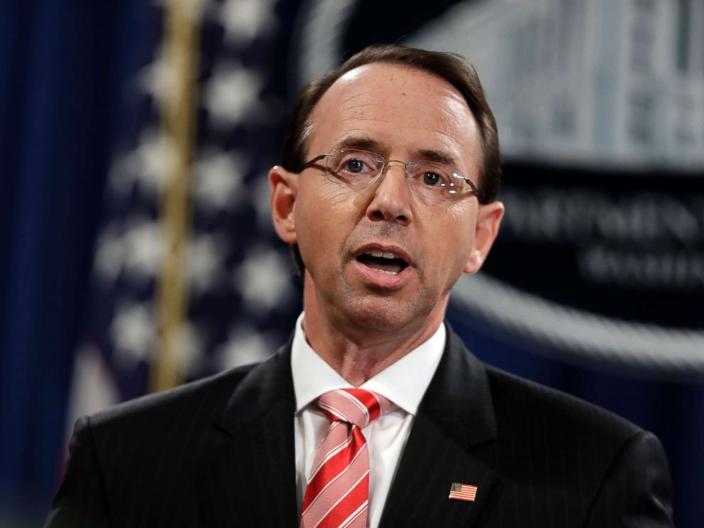 PHOTO: Deputy Attorney General Rod Rosenstein speaks during a news conference at the Department of Justice on July 13, 2018.