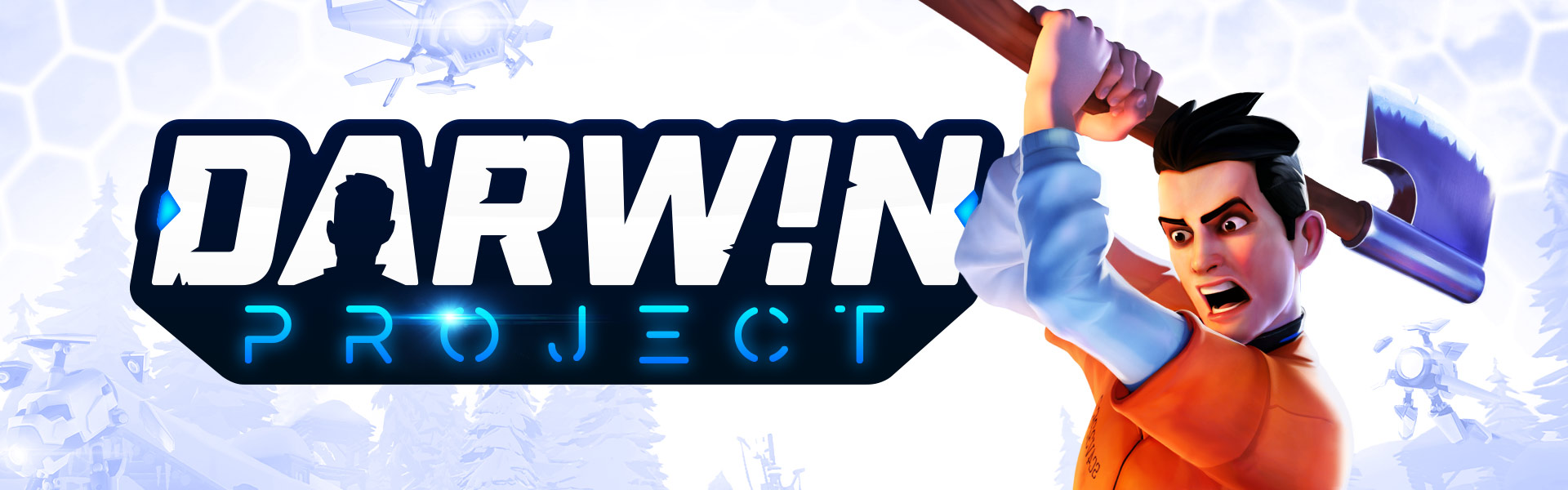Darwin Project, man holds an axe over his head while a small flying robot looks at him