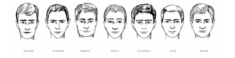 selection of mens face shapes