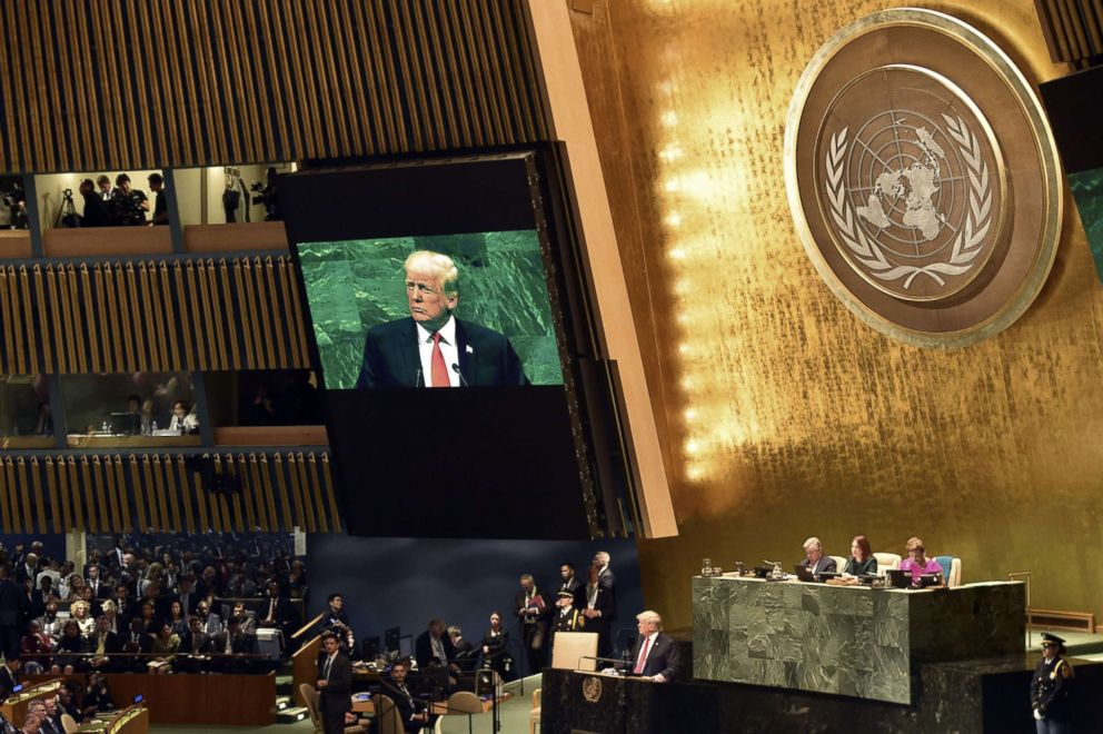 PHOTO: President Donald Trump speaks during the General Debate of the 73rd session of the General Assembly at the United Nations in New York, Sept. 25, 2018.