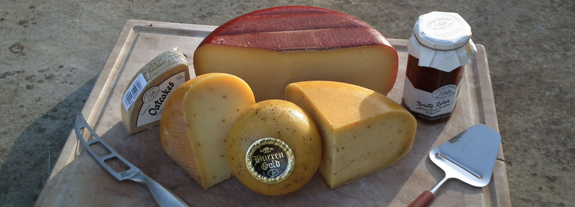 <h1>Award Winning Burren Gold Cheese</h1> <p>A Gouda style Traditional Farmhouse Cheese made from cow's milk produced here at the Farm Shop. Popular flavours include – Garlic & Nettle, Smoked and for the more exotic Piri Piri.</p>