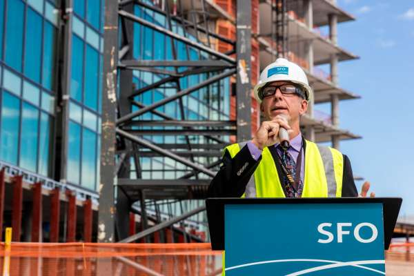 Airport head Ivar Satero speaks at the topping out of the The Grand Hyatt at SFO which will be 12 stories and should open in the summer of 2019.