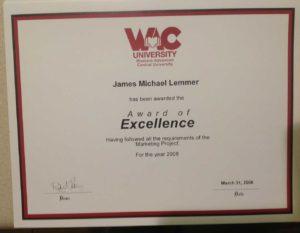 James Michael Lemmer | Award-of-Excellence-2008
