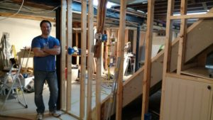 russ finished framing a wall in the basement