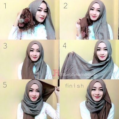 model tutorial hijab simple syari lilit