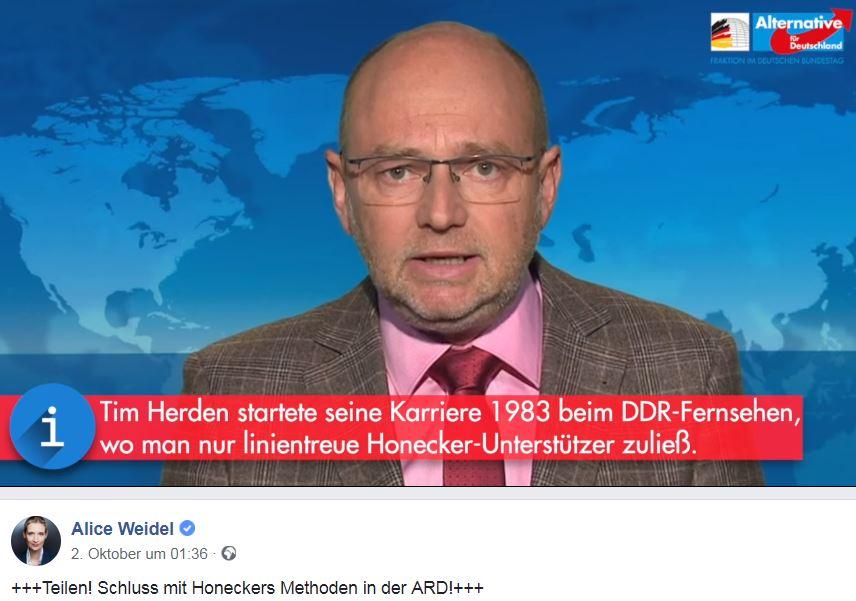 Screenshot eines Videos, das von AfD-Fraktionschefin Alice Weidel, verbreitet wird: Nachberarbeitet und mit AfD-Logo besteht es ausschließlich aus einem Mitschnitt aus den Tagesthemen. (Quelle: Screenshot: t-online.de)
