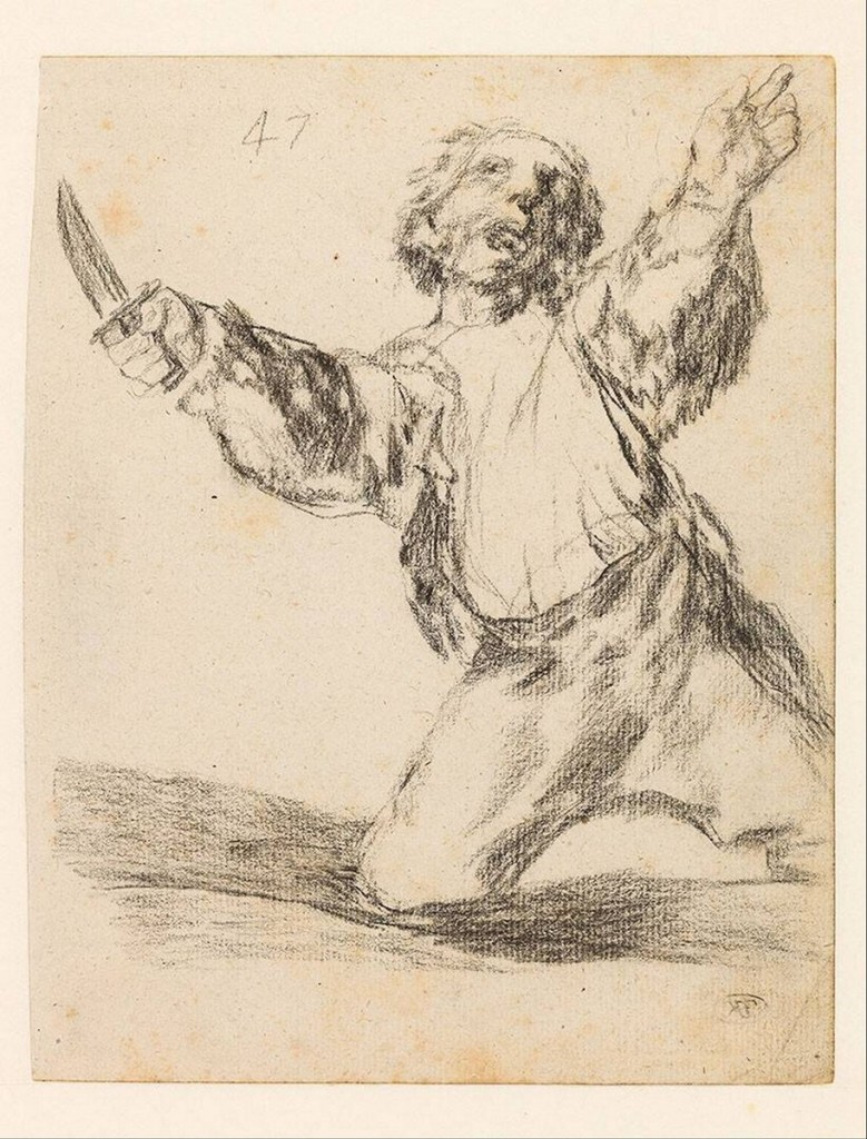 5-51 Francisco Goya, Man brandishing a knife, Bordeaux Album (H), 1824-28. Black chalk and litho crayon, 19.1 x 15 cm. Boymans-van Beuningen Museum, Rotterdam.