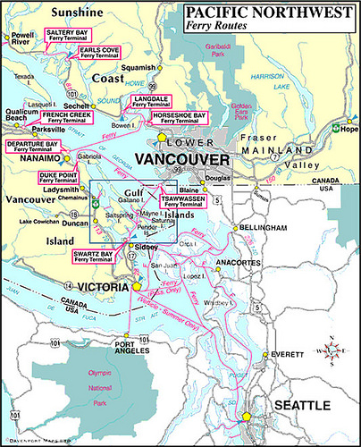 Pacific Northwest Ferry Routes Map: Vancouver Island and British Columbia,   Canada