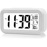 Ecomac Digital Alarm Clock With Large LED Display, Snooze, Date display, Temperature and Smart light