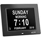 INLIFE Dementia Clocks 2018 Calendar Clock Day Date Clock Digital Alarm Clock with Large Clear Digits Display, On Time Alarm, Auto Light Dimming, Snooze Timer, Battery Backup, Support SD Card White (Black)