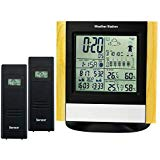 Weather Station 2 Wireless Sensors, DCF Radio Controlled Clock Thermometer Alarm, Indoor Outdoor Humidity Temperature Weather Forecast Barometer