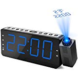 Projection Alarm Clock, Dohomai Digital FM Radio Alarm Clock, Bedside Digital Alarm Clock with Snooze Function, Temperature Display, Three Alarms, Radio Sleep Timer Function, 5 inch Display with Dimmer, for Bedroom, Home, Office
