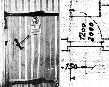 """Wooden door of a delousing chamber as found at Auschwitz. The homicidal gas chamber doors are said to have been of the same design. Swinging door separating the morgue – the alleged """"gas chamber"""" – of Crematorium I at Auschwitz from the furnace room. Taken from original floor plan of 1940, similar a plan of 1942."""