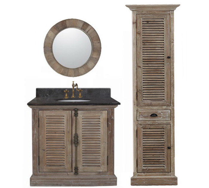 36 inch Single Sink Rustic Bathroom Vanity Marble Top