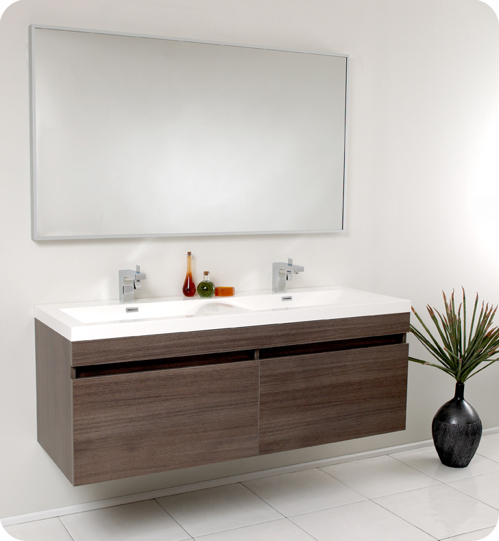 56 inch Largo Gray Oak Modern Floating Bathroom Vanity