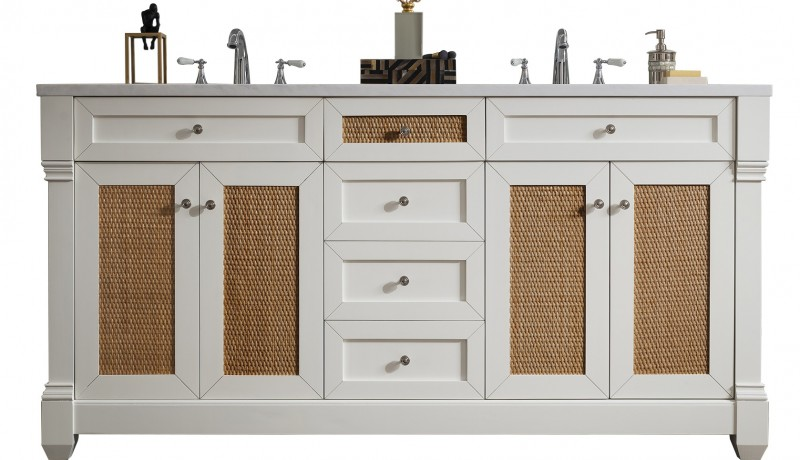 60 inch Double Sink Bathroom Vanity Cottage White Finish with Rectangular Sink