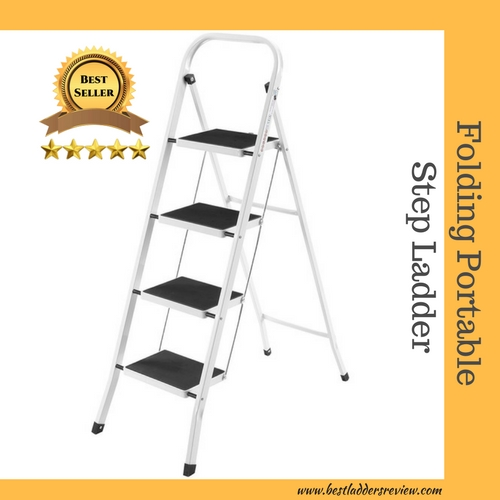 VonHaus Steel Folding Portable 4-Step best Step ladder for home use