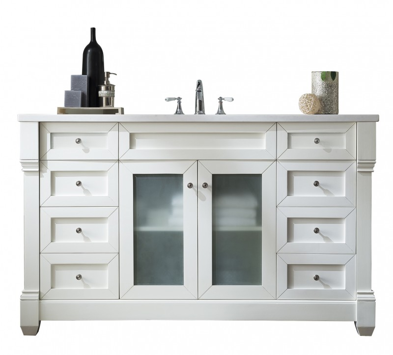 60 inch Single Sink Bathroom Vanity Cottage White Finish with Solid Top