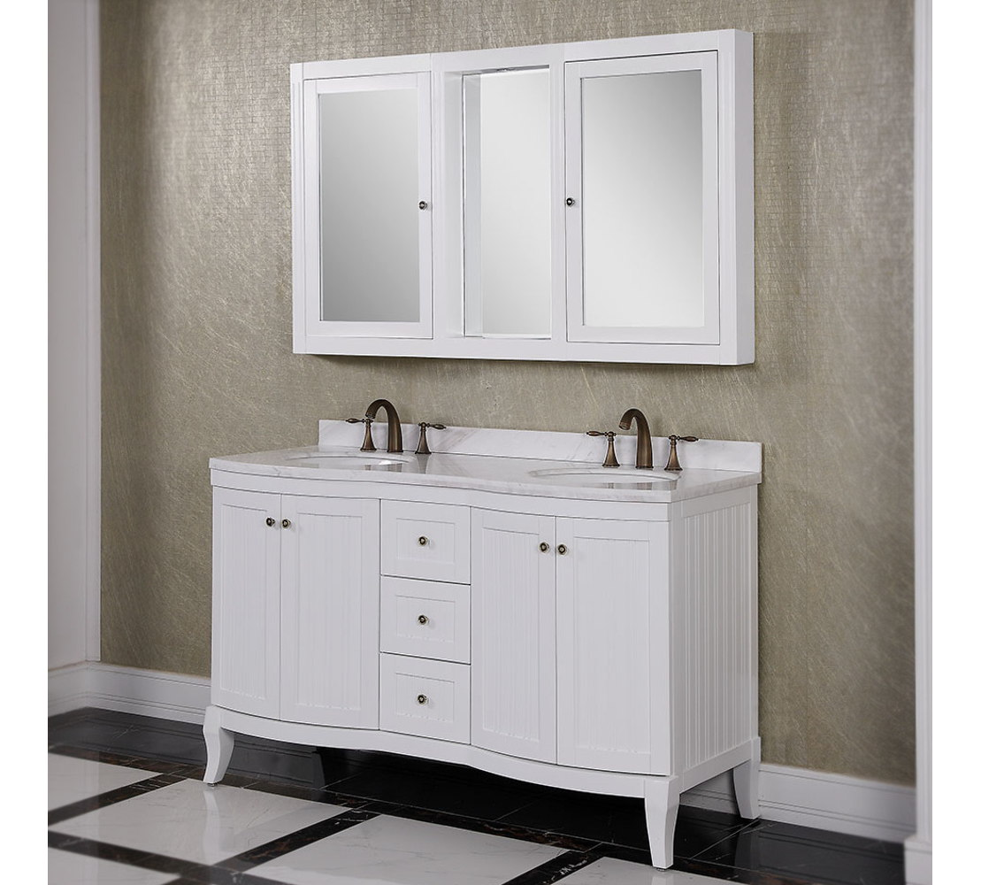 60 inch White Double Sink Bathroom Vanity Cabinet