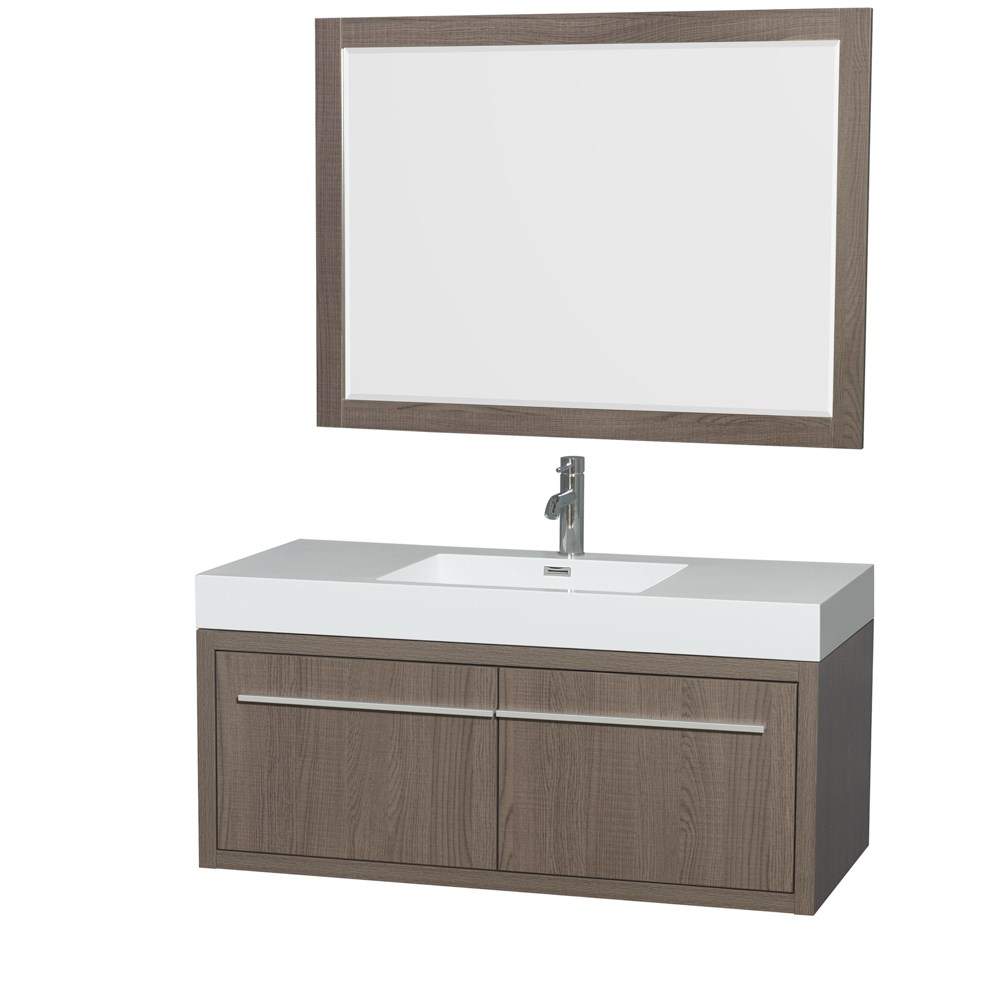 Aster 48 inch Wall Mounted Bathroom Vanity in Gray Oak Finish