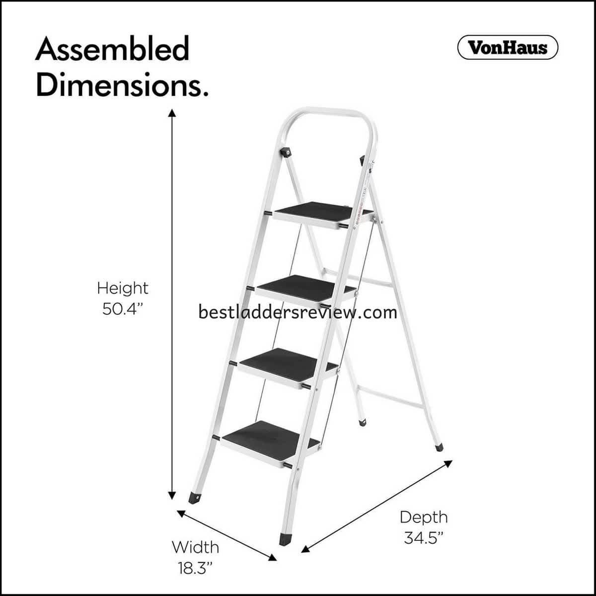 VonHaus 330lbs Steel Folding Portable best step ladders for home use