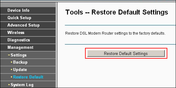 Restore Router Settings
