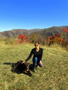 Murphy and me hiking in the mountains