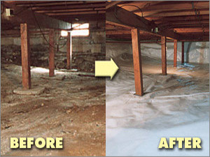 vapor barriers insulation crawlspace before and after