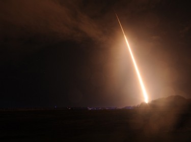A ballistic missile target is launched from the Pacific Missile Range Facility on October 3, 2013