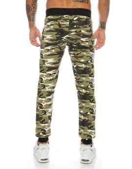 Jogging camouflage kaki bande genoux pas cher