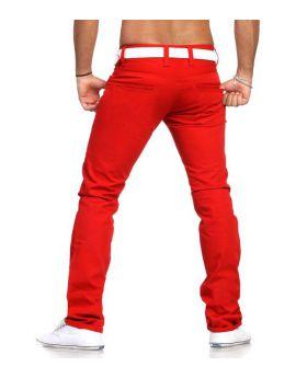 Pantalon chino rouge pas cher