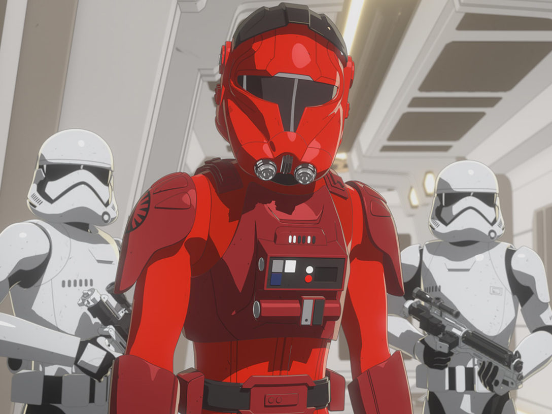 Vonreg and stormtroopers on the Colossus in Star Wars Resistance.