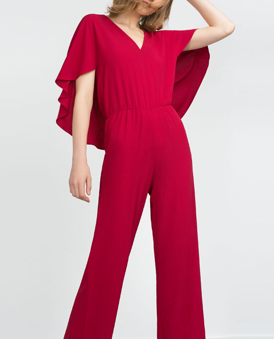 CAPE JUMPSUIT WITH V-NECK