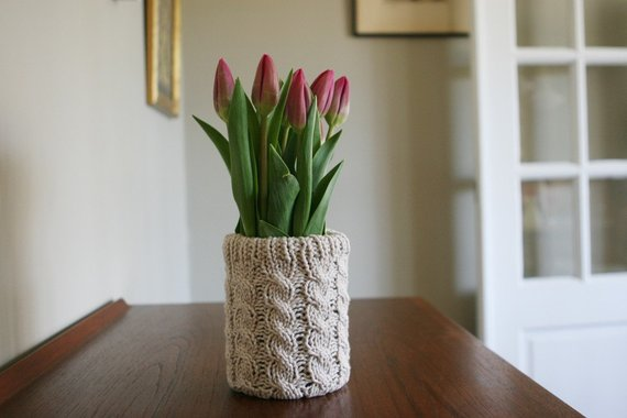 Hand Knit, Cotton Vase Cozy. Petal Vase Cozy in Oat.