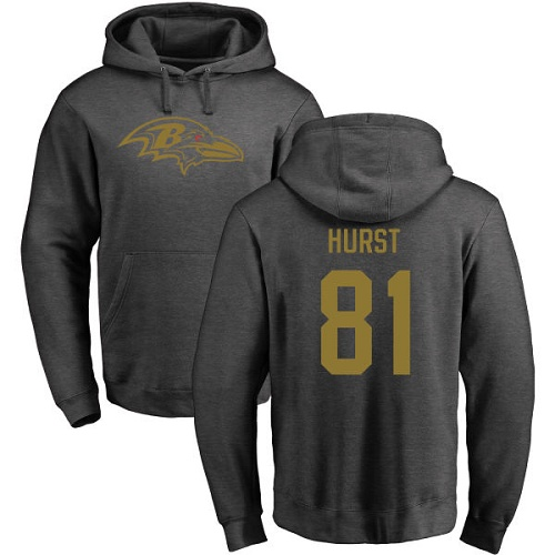 Hayden Hurst Ash One Color Football : Baltimore Ravens #81 Pullover Hoodie