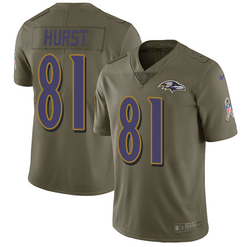 Men's Hayden Hurst Olive Limited Football Jersey: Baltimore Ravens #81 2017 Salute to Service  Jersey