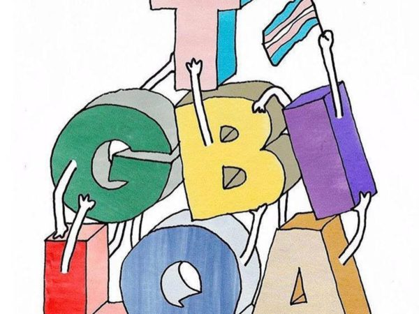 Anthropomorphized lgbtqi letters holding a trans flag