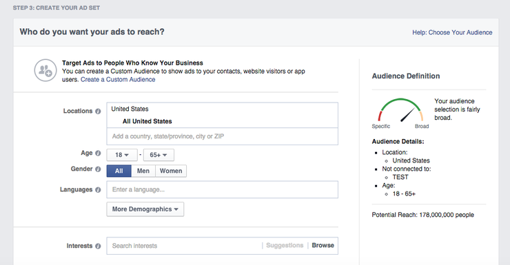 Create your Facebook ad set