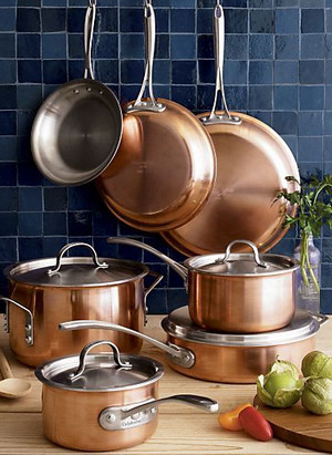 calphalon tri ply copper set