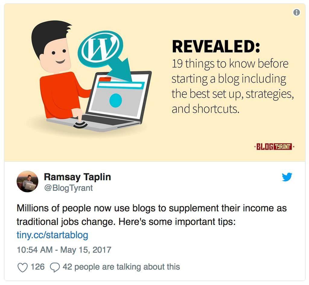 start a blog twitter example