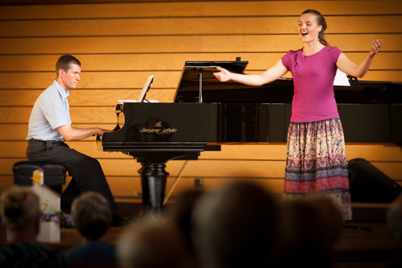 Christina Heppelle performs with Jeffrey Moellman, CMO Artistic Director, on the Shigeru Kawai piano at Central United Church, Barrie, Ontario, as part of the Barrie Concert Assocation?s Senior Serenade concerts (August 2012).