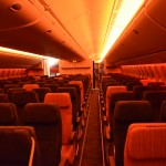 The Economy class cabin features 10-abreast seating on the China Airlines Boeing 777-300ER. (TIM JUE/ CALIFORNIA BEAT PHOTO)
