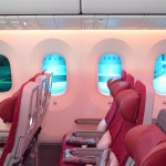 Electro-chromatic windows that dim on demand by pressing a button are one of the Boeing 787 Dreamliner's most innovative features. (STEVEN LUO/ CALIFORNIA BEAT PHOTO)