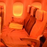 """China Airlines' """"Family Couch"""" transform a set of regular economy seats into a bed suitable for up to two passengers. (TIM JUE/ CALIFORNIA BEAT PHOTO)"""