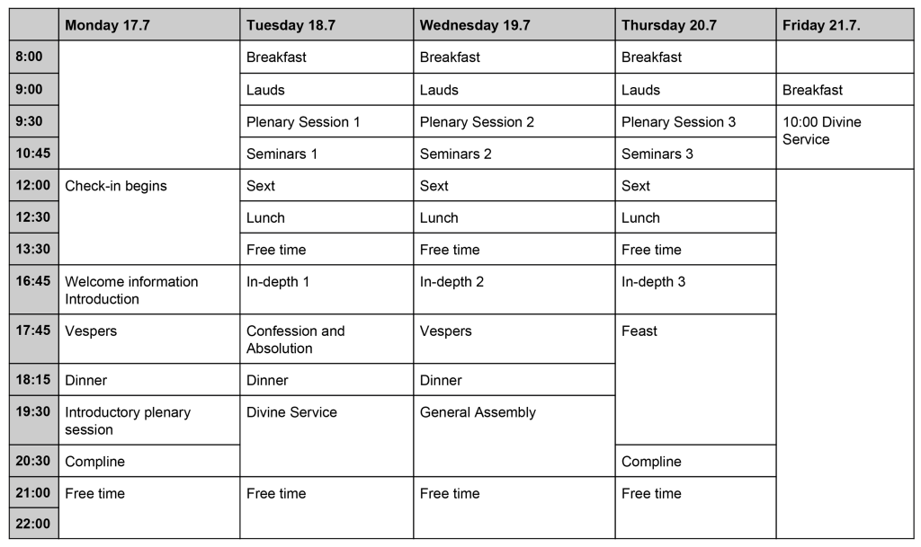 Schedule for CC