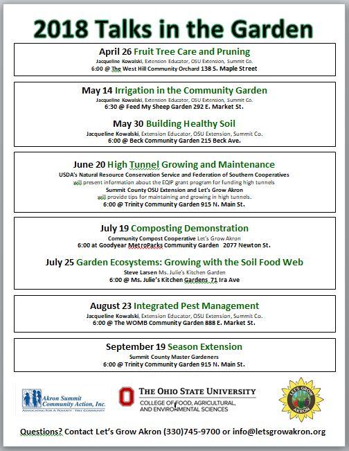 Let's Grow Akron - Talks in the Garden 2018