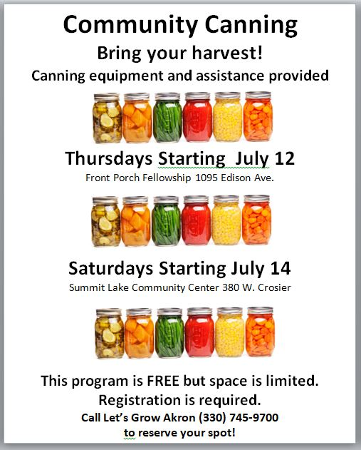 Let's Grow Akron Community Canning 2018