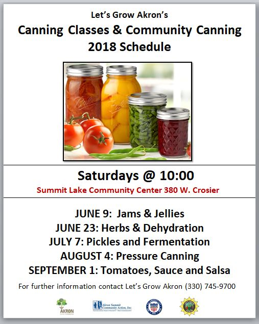 Let's Grow Akron - Canning Classes 2018