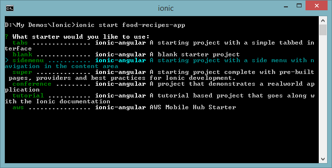 Create Ionic Project with Ionic CLI Starter Kit