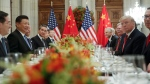 U.S. President Donald Trump with China's President Xi Jinping during their bilateral meeting at the G20 Summit, Saturday, Dec. 1, 2018, in Buenos Aires, Argentina. (AP Photo/Pablo Martinez Monsivais)